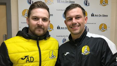 March Town boss Arran Duke (left) with man of the match Eoin McQuaid after his side''s 7-3 win over