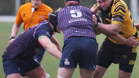 Try scorer Charlie Coupland in action for Ely Tigers at Thurston. Picture: STEVE WELLS