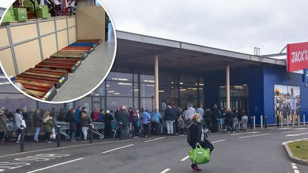 Shoppers in long queues and empty shop shelves in Cambridgeshire amid the coronavirus outbreak. Pict