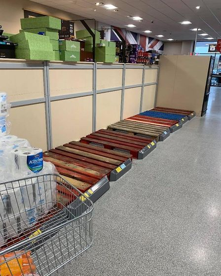 Empty shelves at Aldi supermarket in Peterborough, Picture: Supplied