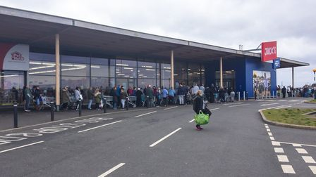 Queues outside Jack's supermarket in Chatteris on Sunday, March 15. Picture: Mark Hemment/Facebook