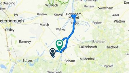 The route for Ollie and Katie's cycle challenge. Picture: OLLIE WRIGHT