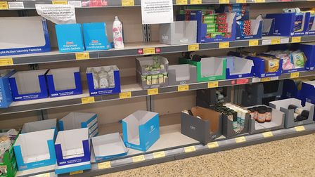 Empty shelves at Lidl and Aldi supermarkets in March and Chatteris. Picture: Supplied/Facebook
