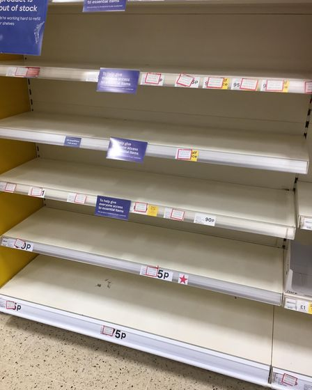 Empty hand wash shelves at Tesco in March. Stock will not be replenished until March 29. Picture: Su