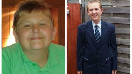 Danny Parker before (left) and after losing weight ahead of the skydive. Pictures: SUPPLIED