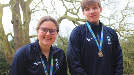 King's Ely students Holly Burke (left) and Jakob Donaubauer won silver medals at the national junior