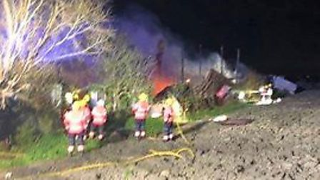Barn and outbuilding blaze at Wype Road in Eastrea at midnight on Thursday, March 2. Picture: Suppli
