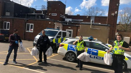 Le Spice, Ely, delivers a complimentary lunch to police to say thank you