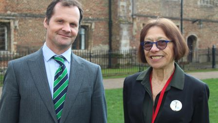 Ned Kittoe (left), head of science at King's Ely Senior and Dr Patricia Fara, historian of science a