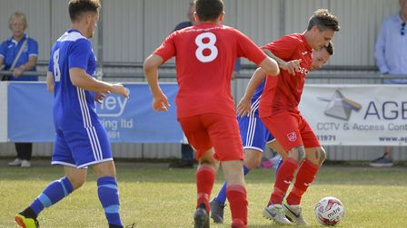 Ely City in action against Godmanchester Rovers in the Thurlow Nunn League Premier Division this sea