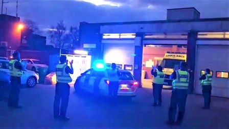 The moment police officers from Ely station clapped for the NHS outside the city's ambulance station