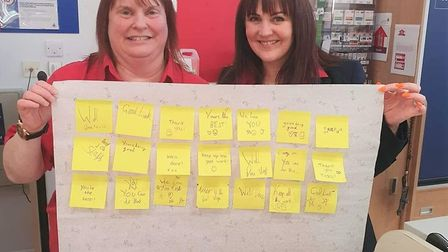 Kind notes left for March Tesco staff who have suffered abuse from angry customers amid the coronavi