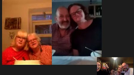 This three-generation family enjoyed a dinner over Facetime amid the wide-spread coronavirus pandemi