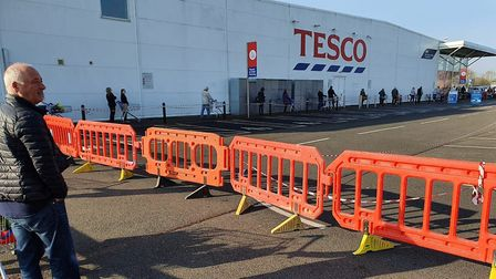 Security guards were reportedly turning people away from Tesco in March this morning because the sup