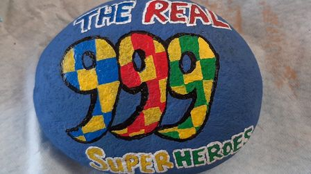 The Ely Rock Eels group have hand-painted a serie of rocks to show their appreciation of emergency s