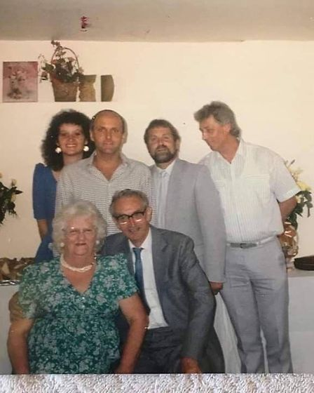 Gerry (second from left, back) with his parents and siblings Barry, Mick and Mary-Ann. Picture: FAMI