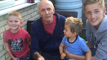 Gerry with grandsons Oscar and Dechlan, and great-grandson Dylan. Picture: FAMILY