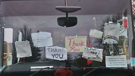 Residents have praised key workers in Fenland during the coronavirus pandemic. Here, 'thank you' mes