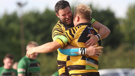 Ely Tigers celebrate a try during the 2019/20 season (pic Steve Wells)