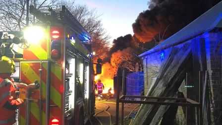 Dramatic photos from the fire that broke out tonight in Littleport, Picture CAMBS FIRE