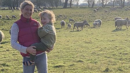 Gemma Maxwell (left) with her son Douglas at Moor Farm in Fordham. Picture: GEMMA MAXWELL