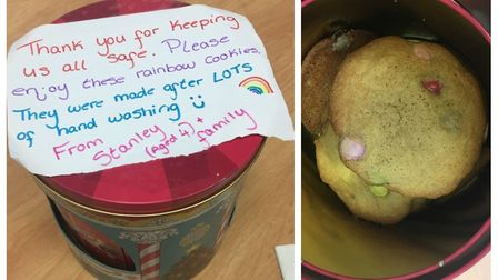 Officers at March police station received a tin of cookies from four-year-old Stanley and his family
