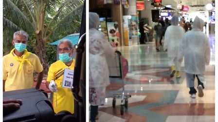 Officials in Thailand take no precautions (left) while passengers leave Bangkok in travel suits (rig