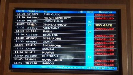 The live departure screen as Peter and Liz wait for a flight back to the UK. Picture: LIZ SAYERS