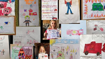 Some of the entries by children across Cambridgeshire for the fire safety poster competition. Pictur