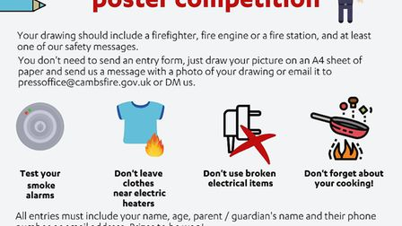 Details on the fire safety poster competition. Picture: FACEBOOK/CAMBRIDGESHIRE FIRE AND RESCUE SERV