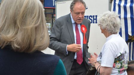 Walk about in Ely during the 2016 election, Richard Howitt MEP, chats to locals. Picture; ARCHANT