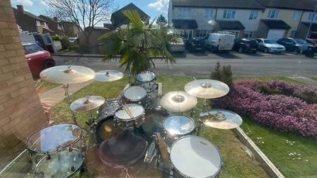 Drummer Hugh Jorgan played a one hour live set for residents at Bellairs in Sutton on Saturday, Apri