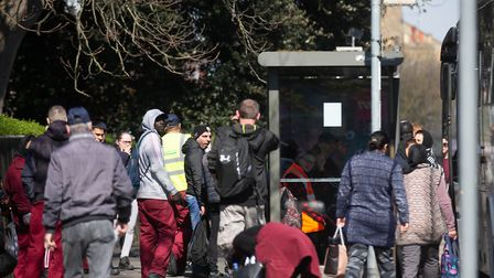 Crowds forming at Bus stops,Lincoln Road, PeterboroughSunday 05 April 2020. Picture by Terry Harris.