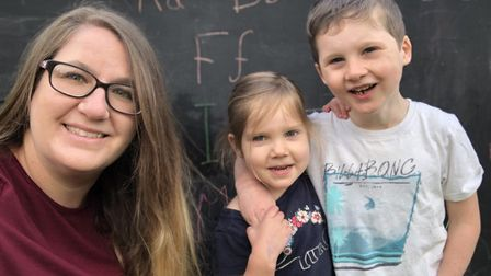 Home-schooler Cara Rosendale with daughter Eleanor and son Cooper