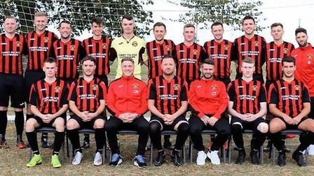 Cottenham United manager Chris Hancock (front, third from left) and his players. Picture: FACEBOOK/C