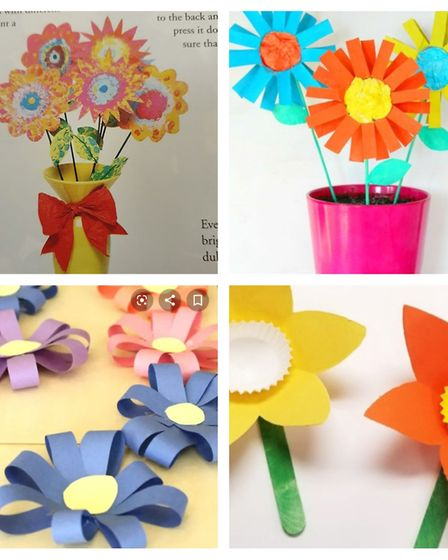 Some ideas of paper and fingerprint flowers that people can send in. Pictures: Facebook/Jays Journey