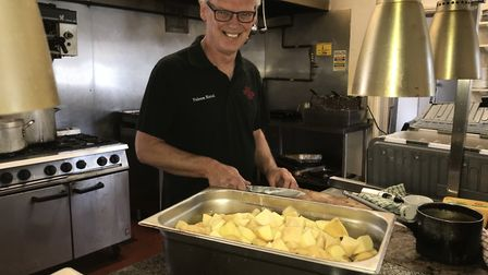 Colin Wilson (pictured) of the Falcon Hotel in Whittlesey has cooked up 165 meals for the most vulne