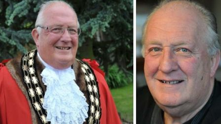 Kit Owen (left) from 2014 on being elected mayor of March for the sixth time. And (right) a photo re