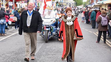 Mayor elect Kit Owen with mayor Jan French head St George's Day parade in March last year. Mr Owen l