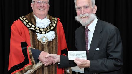 March Town Council Annual Assembly. Left: Mayor Kit Owen and Cllr Bernard Keane with a cheque for Ma