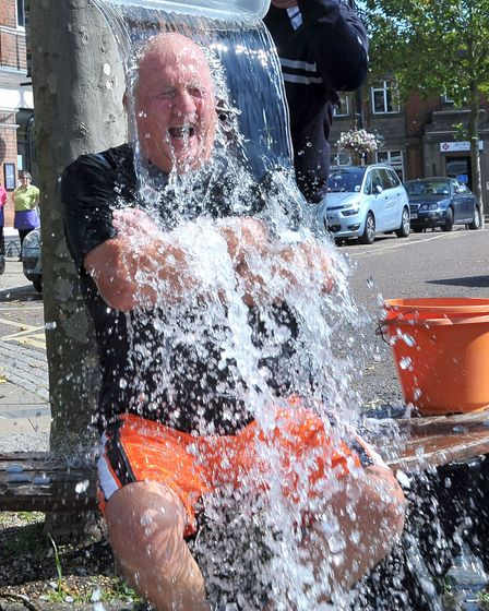 Ice Bucket Challenge. March market place. Mayor of March Cllr Kit Owen.Picture: Steve Williams.