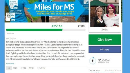 Angie Edwards' Miles for MS page. Picture: Submitted