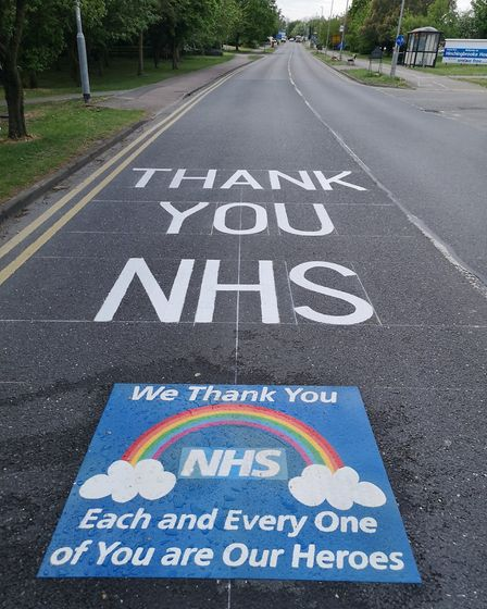 Thank you to NHS painted on road at Hinchingbrooke Hostpital. Picture: Facebook/Hinchingbrooke Hostp