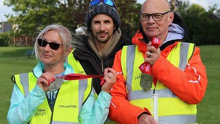 Volunteers from Whittlesey Parkrun who took part in the London Marathon 2019. From left: Tammy Bell,