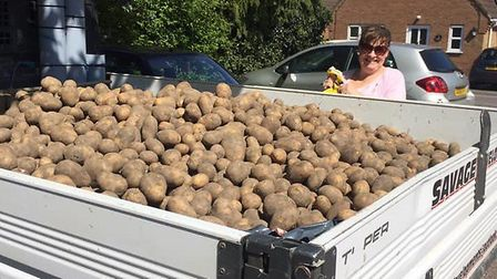 Food such as potatoes and sausages were delivered to residents in Manea during the lockdown. Picture