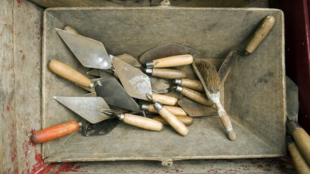 """Archaeology tools used during """"Dig for History"""", an archaeology day at Sutton Hoo, Suffolk."""