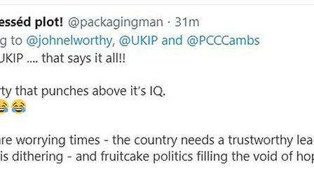 Selection of reactions on Twitter to former Cambridgeshire County Council leader Nick Clarke and his