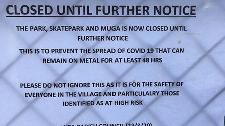 In contrast, Manea Parish Council has closed its park, skate park and muga until further notice. Pic