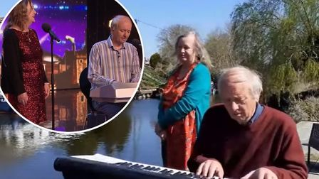 Singing March couple Tony and Patsy Gosling are performing from their home for passers-by doing thei