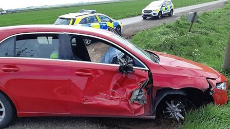 Two men who led police on a 17 mile pursuit and tried to run away after crashing their new Mercedes-